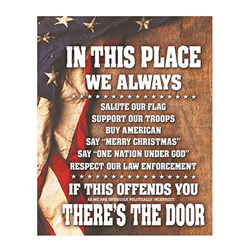 'In This Place-We Salute the Flag & Support Our Troops'-8x10' Wall Decor Print-Ready to Frame. Pro-American, Patriotic Decor for Home-Office-Garage-Bar. Show Your Love of USA! Printed on Photo Paper.