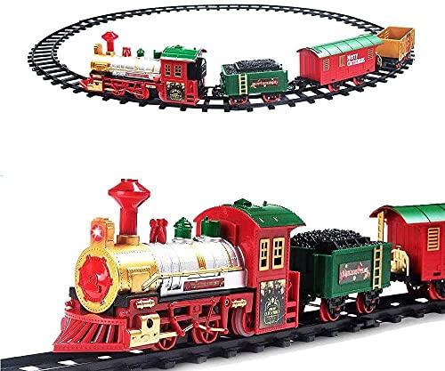 deAO Treno Classico con Luci e Suoni Set Natalizio di Binari, Locomotiva e 3 Carri Treno di Gioco Elettronico per Bambini Decorazioni Natalizie
