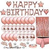 Decorazioni per Feste di Compleanno, Rose Oro Decorazioni Compleanno Festa, Banner di Buon Compleanno, Coriandoli Palloncini, Tovaglia, Tenda a Frange, 10g Coriandoli Tavola Articoli per Feste (Rosa)