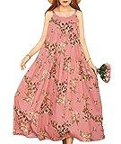 YESNO Women Casual Loose Bohemian Floral Print Empire Waist Spaghetti Strap Long Maxi Summer Beach Swing Dress XS-5X E75-CR35-5XL