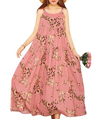 YESNO Women Casual Loose Bohemian Floral Print Dresses Spaghetti Strap Long Maxi Summer Beach Swing Dress L E75 CR35