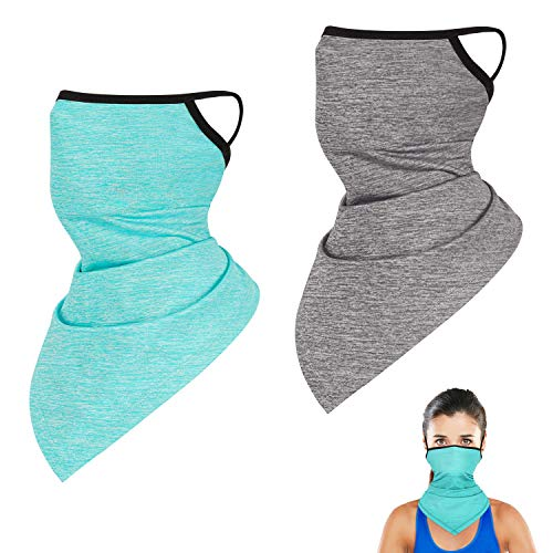 2 Pack Cooling Neck Gaiter with Ear Loops, Outdoor Summer Face Cover Scarf Bandana Balaclava for Men and Women (Lake Blue & Gray)