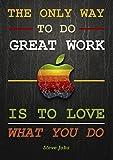 Poster mit engl. Zitat von Steve Jobs, Apfel-Motiv,