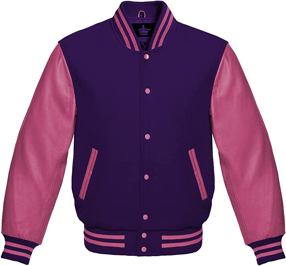 Varsity Jacket Baseball Letterman Bomber School Premium Wool Genuine Pink leather sleeves