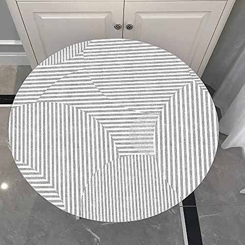 Mantel Antimanchas Redondo, Chickwin Estilo Minimalista Mantel de Mesa Impermeable Diseño de Borde Elástico, Mantel Redondo para Comedor, Cocina y Picnic (Raya,180cm)
