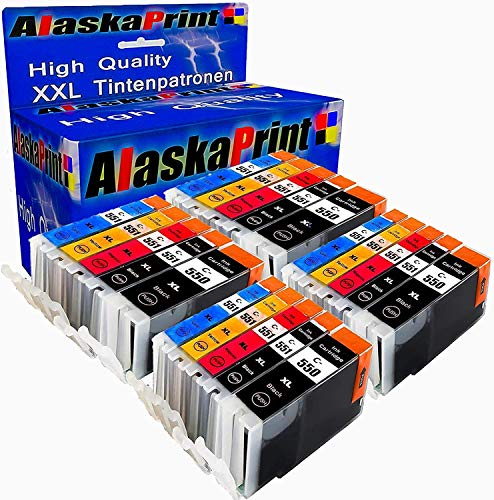 Alaskaprint 20 Set Druckerpatronen kompatibel mit Canon PGI550 XL CLI551 XL PGI550xl CLI551xl für Pixma MX925 MX 925 MX725 IP7250 MG5650 IX6850 I8750 MX-725 Patronen