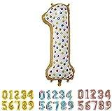 PARTY Globos de Cumpleaños - Número Grande Tipo Donut - Fiesta de cumpleaños y Aniversarios - Gigante 105 cm - Hinchable - Tamaño XXL (1-Donut)