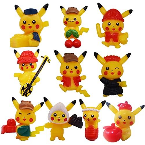 Muñecos Pokemon Pikachu,Mini figuras de 10 piezas Juego de accesorios para fiestas de cumpleaños Cupcake LKNBIF for Pikachu Figuras decorativas para tartas fiestas de cumpleaños Iiños y niñas
