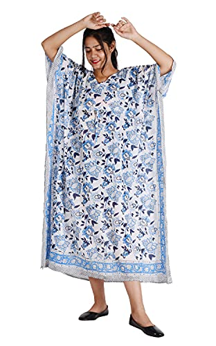 Handicraft Bazarr Kaftan Beach Wear Vestido de baño de algodón impreso a mano Vestido de baño de media manga bikini cubierta Ups Hippie túnica bata pareo suelto largo Maxi noche desgaste