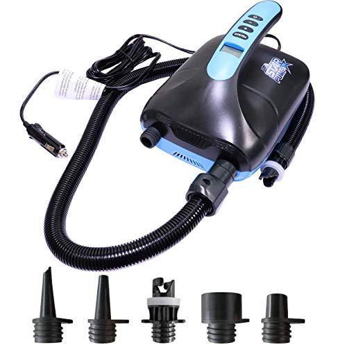 SkinStar Elektrische SUP-Pumpe mit 5 Adapter für Stand Up Paddle Board Schlauchboot Luftmatratze I 12 V DC Hochdruck-Luftpumpe bis 20PSI