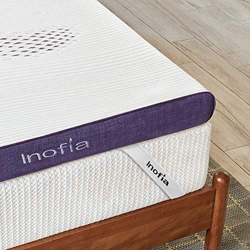 Inofia Topper 180x200 cm Gel Matratzenauflage Memory Foam Topper für Matratzen oder Boxspringbett |2cm RG50 Gelschaum+6cm Lavender Reliefoam|waschbar Bezug|100 Nächte Probeschlafen|10 Jahre Garantie