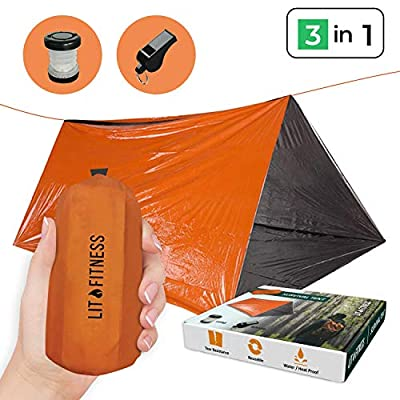LIT FITNESS Survival Tent Emergency Shelter with Titan Paracord, 2 Person Survival Kit Mylar Tent Includes Survival Lamp and Tactical Whistle for Outdoors Camping and Hiking