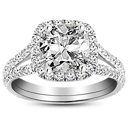 2 Ctw 14K White Gold Split Shank Diamond Engagement Ring Cushion Cut (1.5 Ct H Color VS1 Clarity Center Stone)
