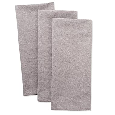 DII Cotton Chambray Dish Towel, 20x30 Set of 3, Monogrammable Oversized Kitchen Towels for Cooking and Baking-Stone Brown
