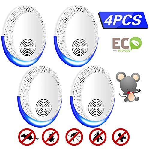 Ultraschall Schädlingsbekämpfer, 4 Stück Mückenschutz,Rattenabwehr Mäuseabwehr Schädlingsfallen für Kakerlaken, Ameisen, Mäuse und Insekten (40)