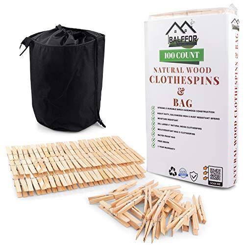 Balffor - Pinzas de madera natural para ropa y pinzas de ropa, 100 pinzas grandes de madera para ropa con bolsa grande impermeable y resistente al polvo para tendedero para interior o exterior