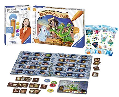 tiptoi Ravensburger 008018 Der Stift & Ravensburger 00737 - Spiel: Schatzsuche in der Buchstabenburg + 2 x Create Sticker (Verschiedene Auslieferungen)