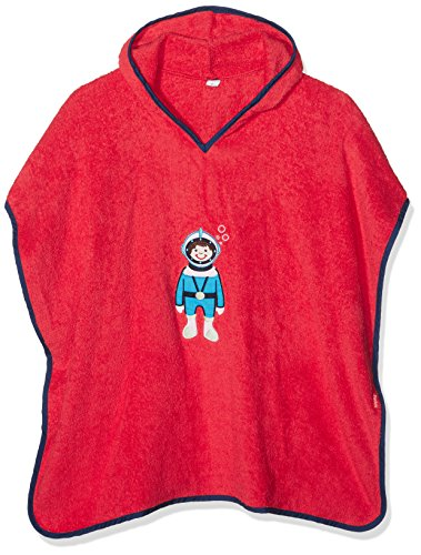 Playshoes Frottee Poncho, Badeponcho Taucher, Accappatoio Bambino, Rosso (Rot 8), Small (Talla produttore: Small)
