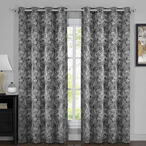 Royal Bedding Bali Curtains Black, 100% Blackout Thermal Insulated, Top Grommet, Jacquard Woven Bali Window Panels with Wallpaper Style, Pair/Set of 2 Panels, 54Wx84L inches Each
