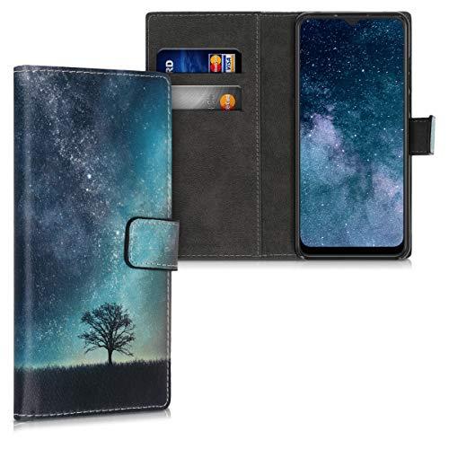 kwmobile Wallet Hülle kompatibel mit Alcatel 3X (2019) - Hülle mit Ständer Kartenfächer Galaxie Baum Wiese Blau Grau Schwarz