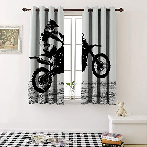 Blackout Room Darkening Thermal Insulated Dirt Bike Rider Participating Motocross Championship Silhouette Image Dangerous Sports Black White Living Room, Curtain Panels for Patio Door 63 by 45 in