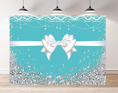 Riyidecor Tiffany Blue Bow-Knot Birthday Backdrop 7x5ft Turquoise Bridal Silver Diamonds Bridal Sweet 16 Bridal Wedding Girl's Party Photography Background Studio Shoot Blush Vinyl Cloth