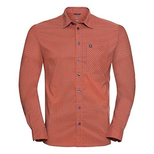 Odlo Herren Nikko Langarm-Hemd, Mandarin red - China Blue - Check, M