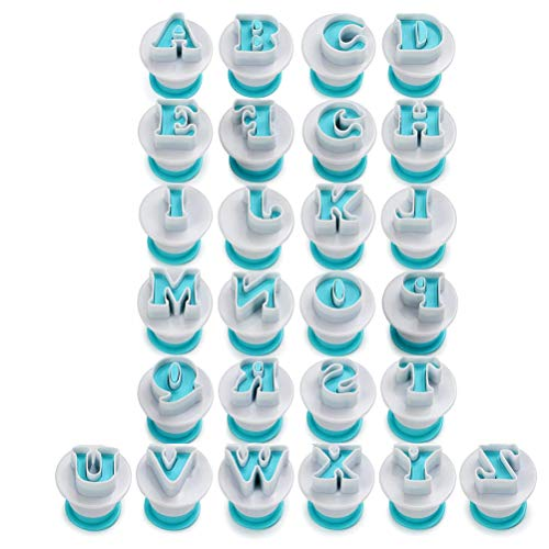jemous Alphabet Numbers Fondant Cake Biscuit Stainless Steel Mold Cookie Cutters Biscuit Pastry Cookie Stamp Impress Embosser Cutter Mousse Cake Molds for Kitchen Baking DIY Tool