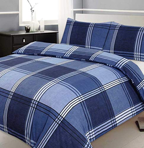 Velosso King Size Duvet/Quilt Cover Bedding Set Checkered Blue Bedding Hamilton Check