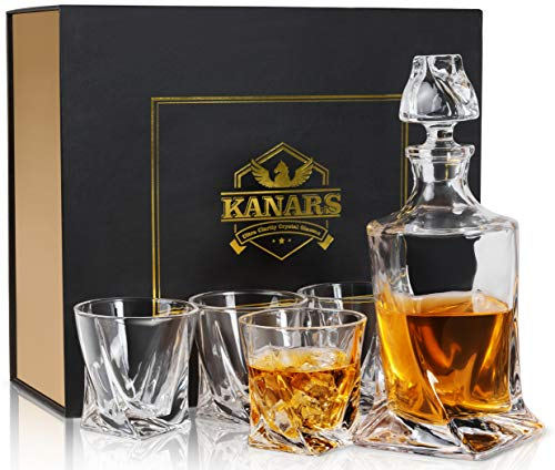 KANARS Bottiglie e Bicchieri whisky, 800ml Bottiglia con 4x 300ml Bicchieri, Decanter da Whiskey Cristallo, Bellissimo Regalo, Set di 5 Pezzi