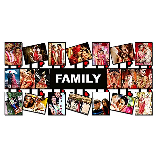 Plan To Gift Wooden Family with 20 Photos Customized Photo Frame with Name Collage (Multicolour, 12 x 24 inch)