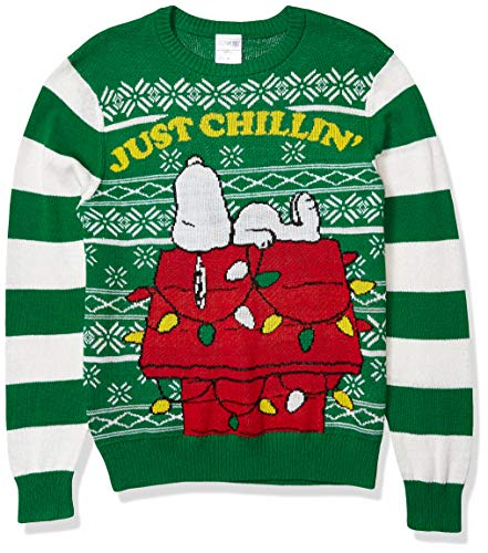 Peanuts Men's Ugly Christmas Sweater, Green, Large