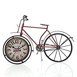Chaomian Home Ornaments 14.4x10 Handcrafted Metal Bicycle Analog Silent Quartz Desk Clock,Vintage Rustic Look,Glass on Front (Red Bicycle)