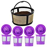 Refillable K Cups Pod With Reusable Mesh Ground Coffee Filter Basket Fit for Keurig K-Duo Essentials and K-Duo Brewer Machine (4-Pack)