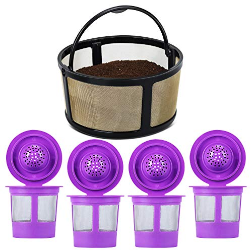 4-Pack Refillable K Cups Pod With Reusable Mesh Ground Coffee Filter Basket Fit for Keurig K-Duo Essentials and K-Duo Brewer Machine