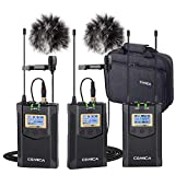 Comica CVM-WM100 Plus Wireless Microphones, Professional 1-Trigger-2 UHF Wireless Lavalier Lapel Microphone System for DSLR Sony Canon Nikon Panasonic Cameras, XLR Camcorder, PC, Smartphone …