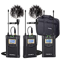 commercial Comica CVM-WM100 Plus Wireless Microphone, UHF1-Trigger-2 Professional Wireless Lapel Lapel… wireless microphones camcorders