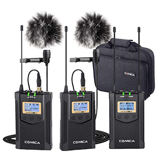 Comica CVM-WM100 Plus Wireless Microphones, Professional 1-Trigger-2 UHF Wireless Lavalier Lapel Microphone System for DSLR Sony Canon Nikon Panasonic Cameras, XLR Camcorder, PC, Smartphone