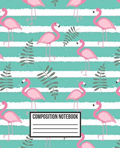 Composition Notebook: Bright Colors Green & Pink Flamingo Wide Ruled Blank Lined for girls, kids, teens, students, teachers, school, home, college ... (Flamingo Composition Diary Journal, Band 5)