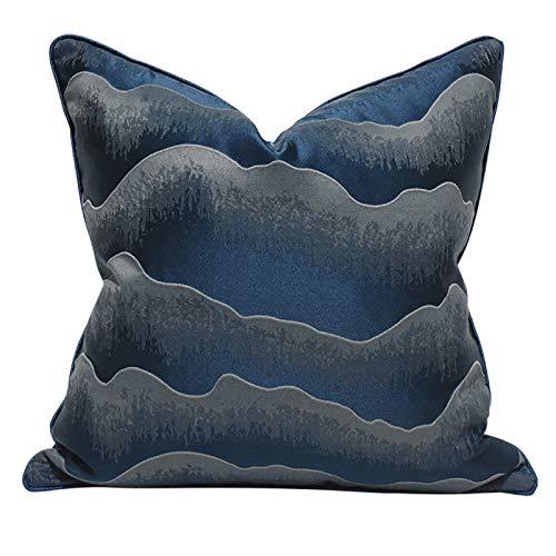 QXbecky Fundas de Cojines Funda de Almohada Cuadrada con Ondas de Agua Azul de Lujo Ligero (sin núcleo) decoración de sofá Accesorios ultrafinos para el hogar 50 cm