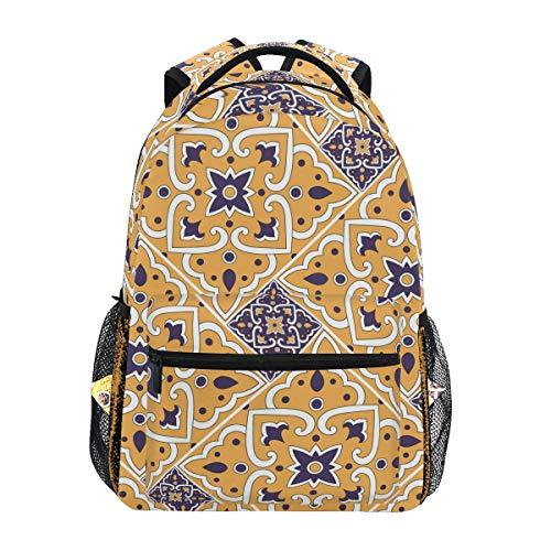 Italienische Fliese mit Blumenschulrucksack für Jungen Mädchen Kinder Reisetasche Bookbag