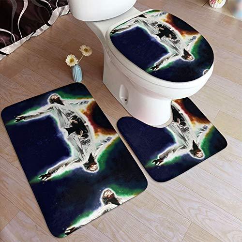 Mi-Chael J-Ackson - Juego de alfombrillas de baño y pedestal, antideslizantes, absorbentes de agua, poliéster, bañera, ducha, inodoro, lavable a máquina, 3 piezas