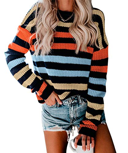 KIRUNDO Women's Strip Color Block Short Sweater Long Sleeves Stitching Color Round Neck Loose Pullovers Jumper Tops (Small, 2004-Rainbow)