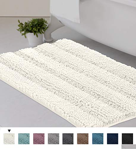 Striped Luxury Chenille Bathroom Rug Mat 20x32 Inch Extra Soft and Absorbent Shaggy Rugs Dry Quickly...