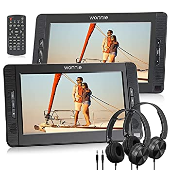 Wonnie 10.5inch Dual Portable DVD Player for Car Headrest Kids CD Players with Two Headphones Built-in 5 Hours Rechargeable Battery Support USB/SD/MMC,Regions Free,AV Out & in   1 Player+1 Monitor
