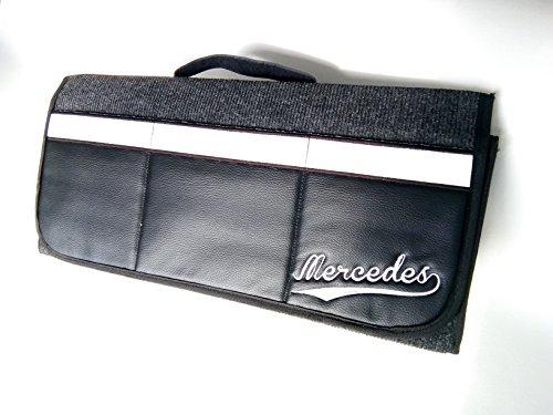 """Onekool Kofferraum-Organizer, 50 x 25 cm, mit 3 Vordertaschen aus Kunstleder, mit """"Mercedes""""-Stickerei"""