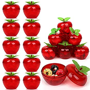 20 Pack Apple Container Christmas Wedding Party Toy Filled Plastic Bobbing Apples Christmas Tree Xmas Decorations Baubles Party Wedding Fruit Ornament Teacher Supplies Favors for Kids