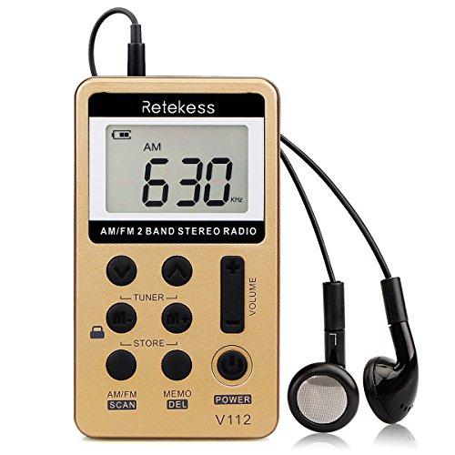 Retekess V112 Mini Radio Portatile, AM FM Ricevitore Personale, Ricaricabile, con Auricolari, Timer di Spegnimento, Radio Walkman, Adatto per Correre, Viaggiare, Camminare (Oro)