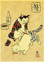 木製パズル1000ピース楽しいレジャージグソーパズル大人のための子供たちトレーニング忍耐力ゲーム創造的なおもちゃ日本のタトゥー猫レトロポスター75x50cm