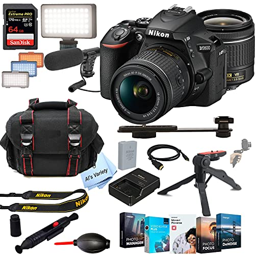 Nikon D5600 DSLR Camera Kit with 18-55mm VR Lens | Built-in Wi-Fi|24.2 MP + Shot-Gun Microphone + LED Always on Light+ 64GB Extreme Speed Card, Gripod, Case, and More (26pc Video Bundle)